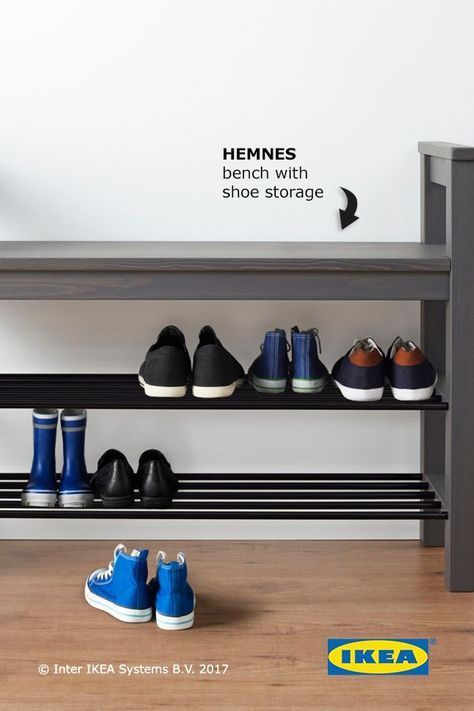 HEMNES Bench With Shoe Storage, Dark Gray Gray Stained