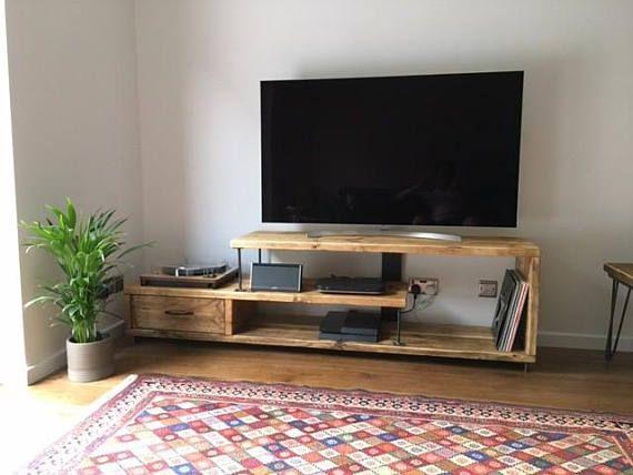 Chic de récupération bois Meuble TV médias unité industrielle