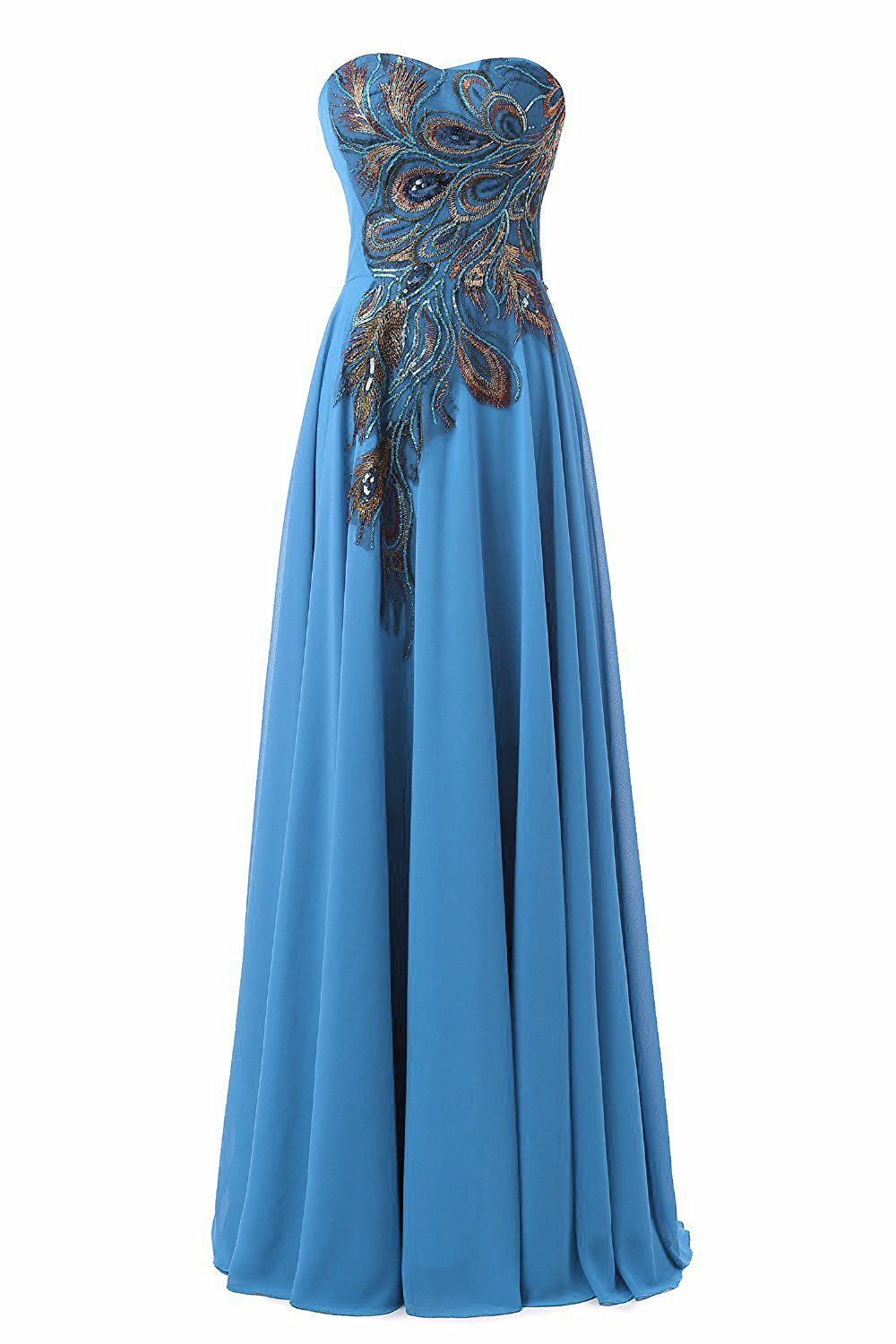 WAWALI Peacock Pattern Hand Embroidery Prom Dresses Evening Pary ...