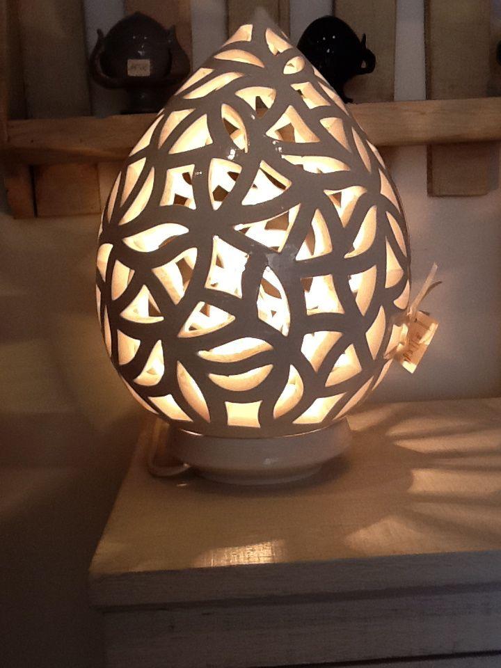 Lampada in ceramica bianca  Lampade Ceramica - Pottery Lamps - Lampes en Cer...