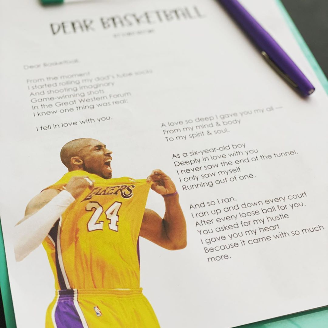 Kobe Bryant S Dear Basketball Poem Amp Questions