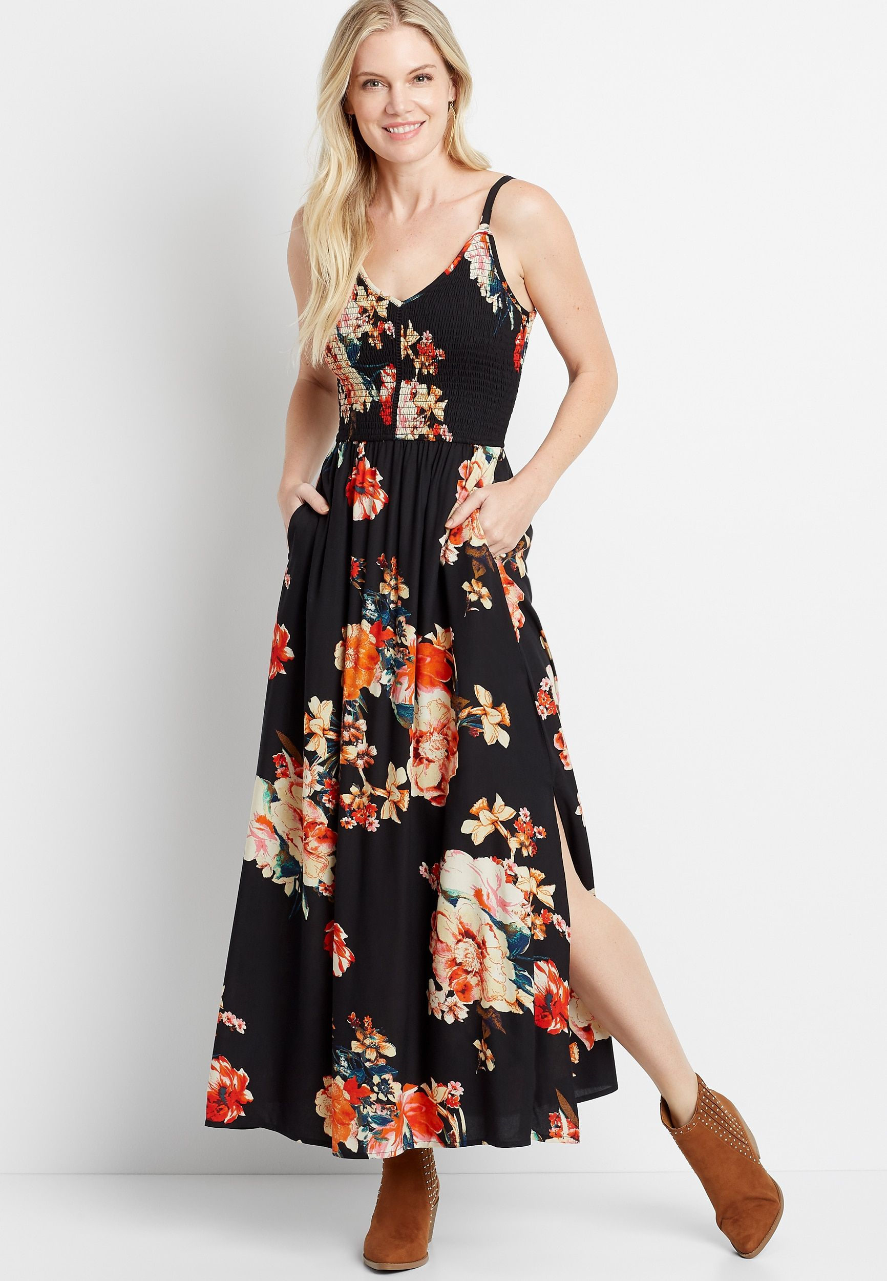 Black floral smocked top maxi dress in 2020 maxi dress
