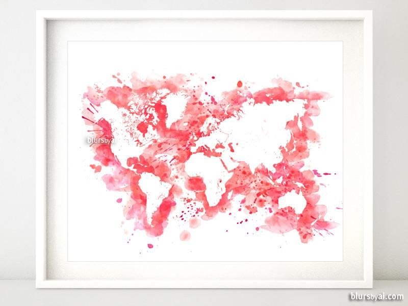Hot Pink Watercolor World Map In Distressed Strokes Water Color