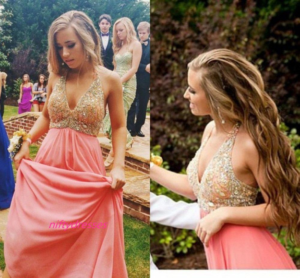 Blush pink vneck prom dressesback