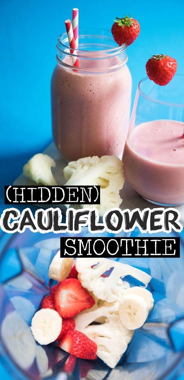 Hidden Cauliflower Strawberry Banana Smoothie #strawberrybananasmoothie