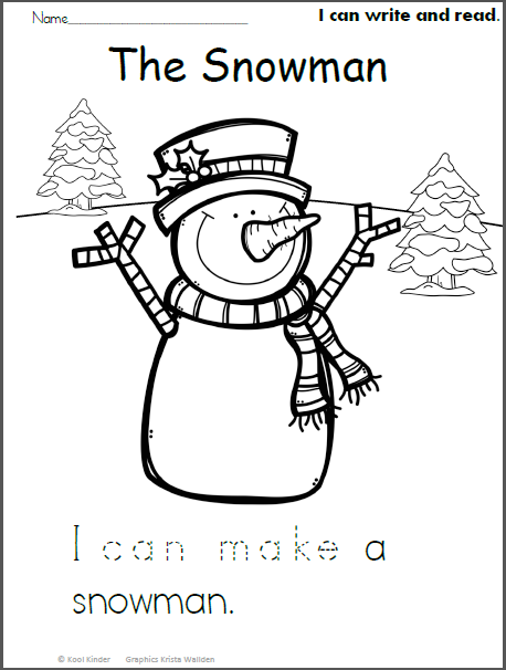 Snowman Read and Trace Kindergarten addition worksheets