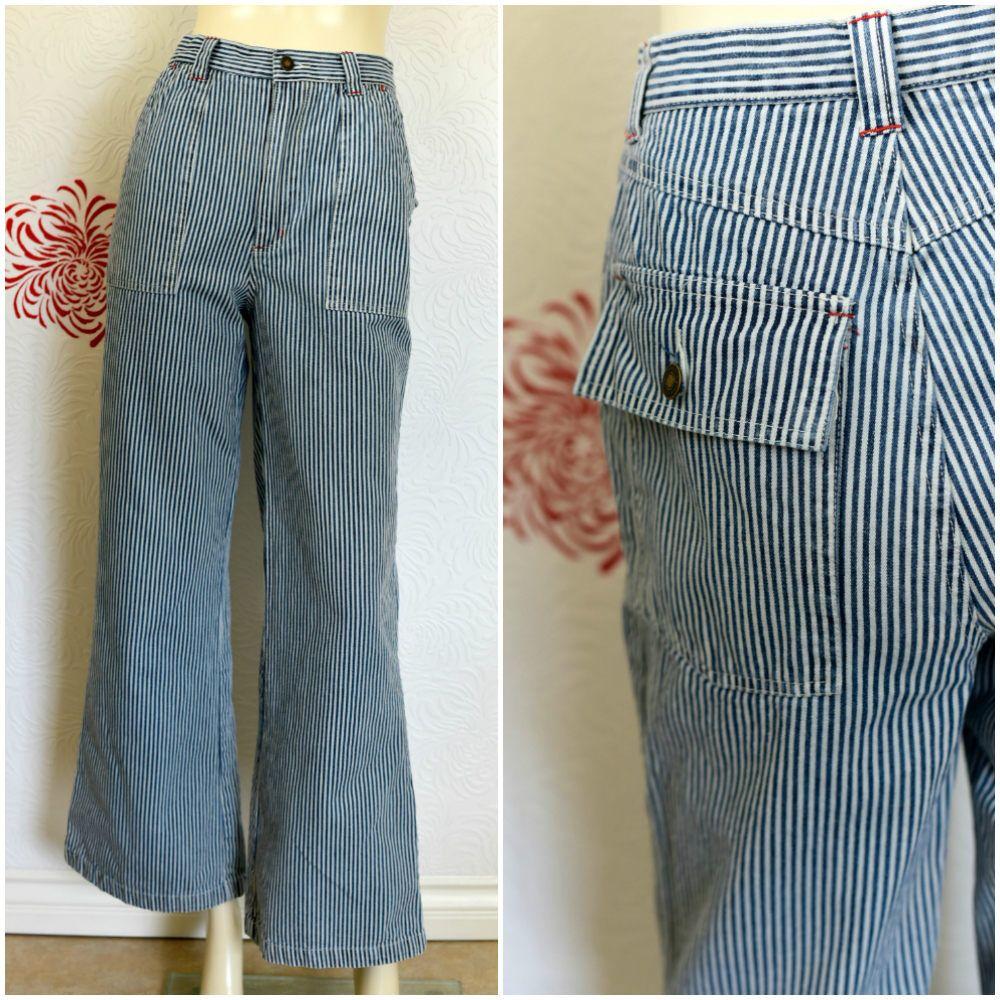 Vintage Jeans 90s Denim High Waist Striped Minimal Blue Stripes Shirt Dress Combo Biru Xxl