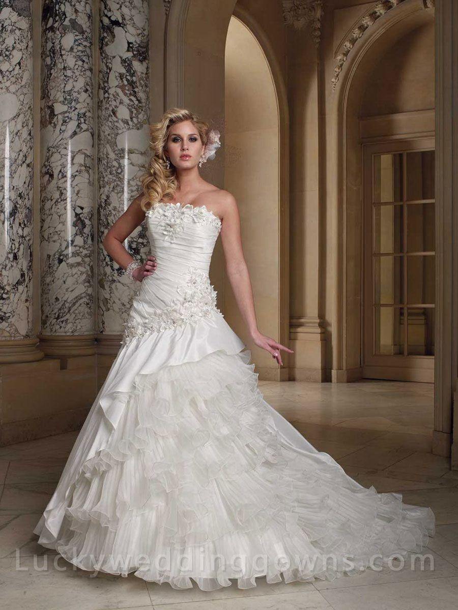 Side draped strapless taffeta ball gown wedding dress someday