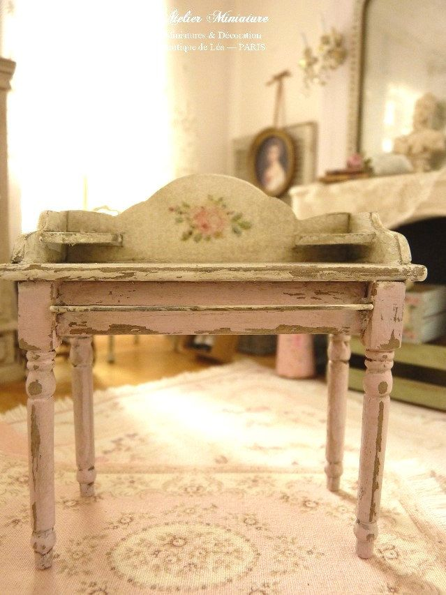 French miniature vanity in wood, Shabby PINK, Dolls\' collectible ...