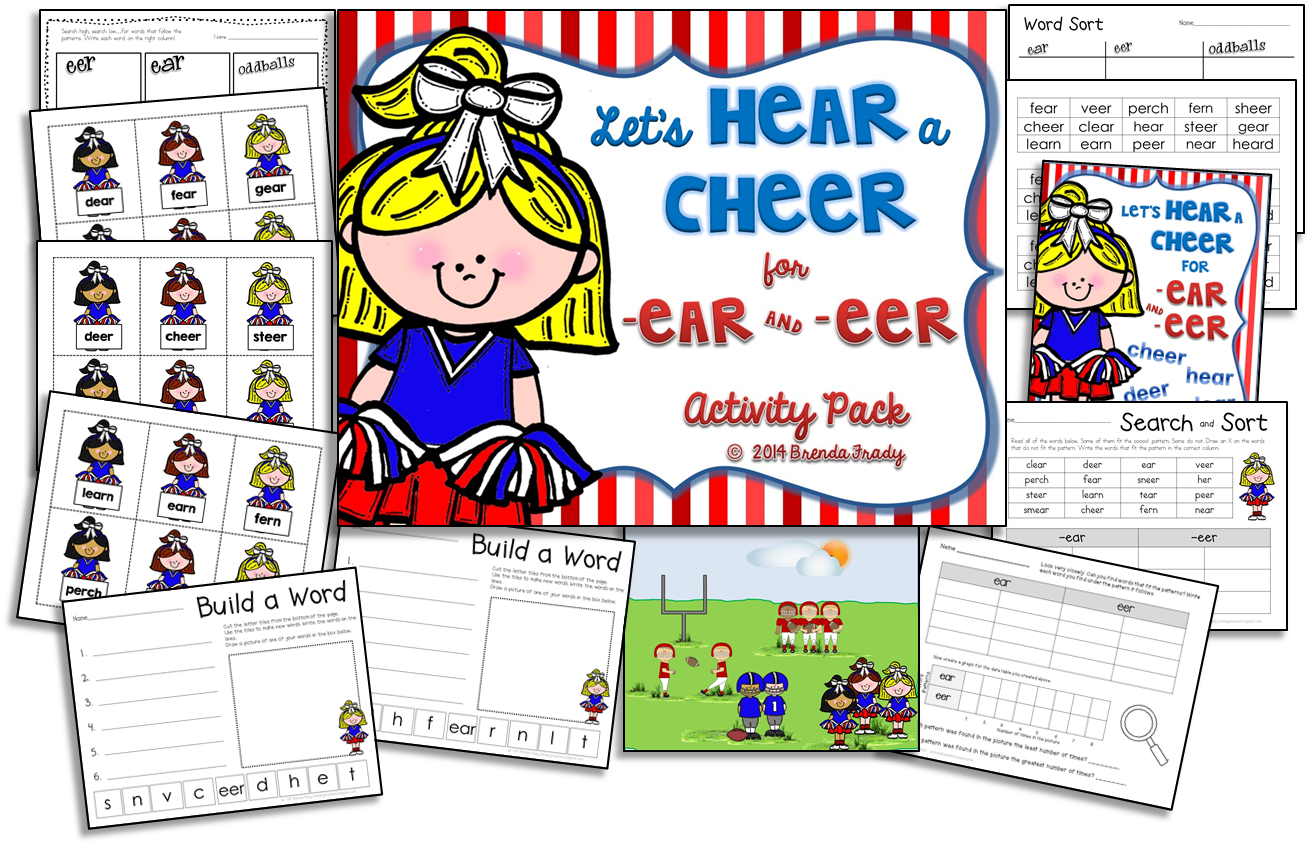 Ear Eer Word Work Phonics Activity Packs