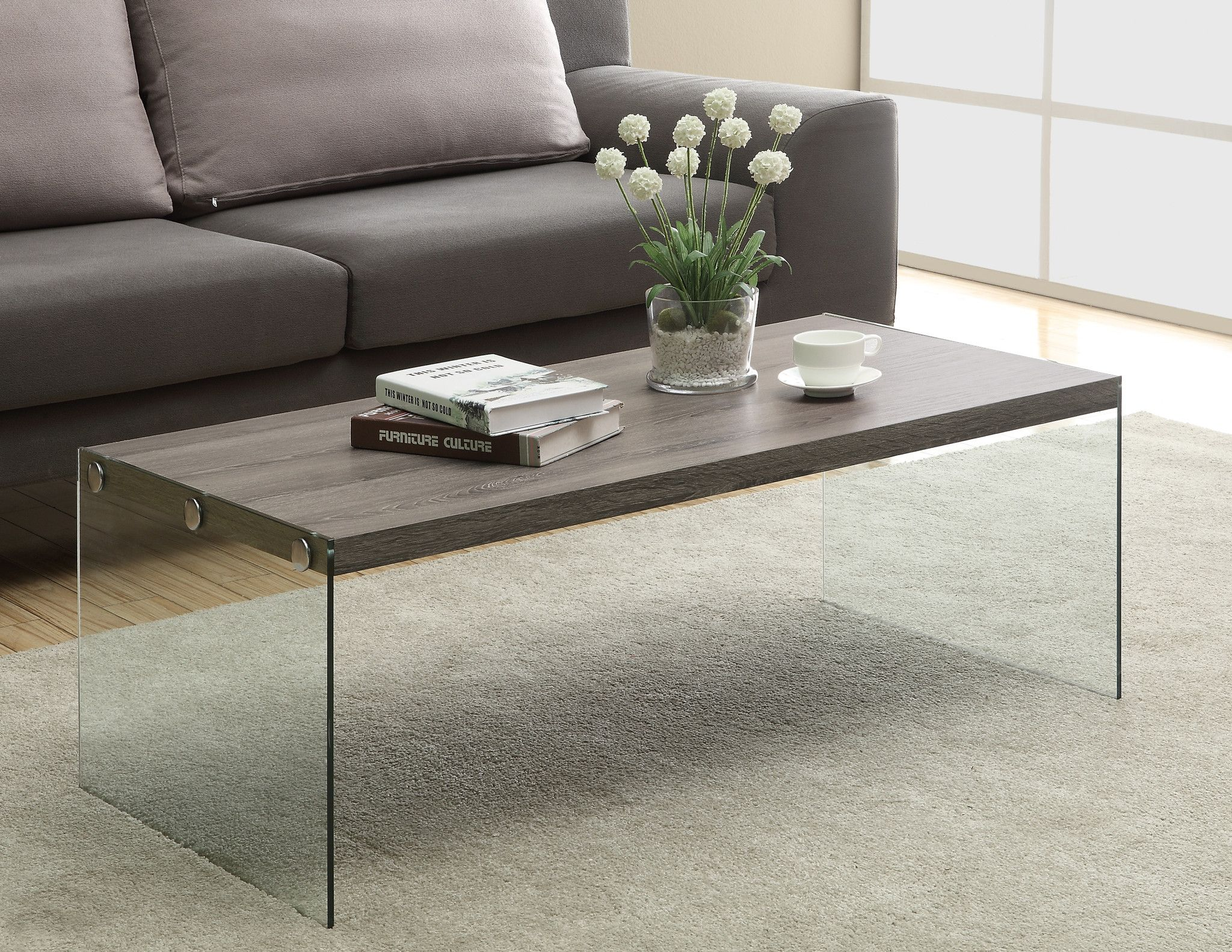 Coffee Table Dark Taupe With Tempered Glass Coffee Table Contemporary Coffee Table Glass Cocktail Tables [ 1583 x 2048 Pixel ]