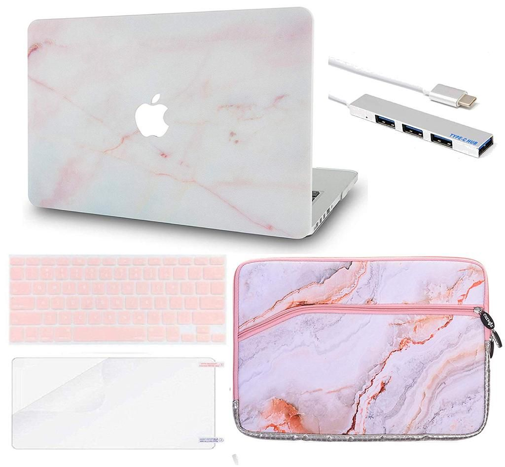 "Bag 5 in1 Rubberized PINK Case for Macbook PRO 15/"" Retina Key Cover+LCD Mouse"