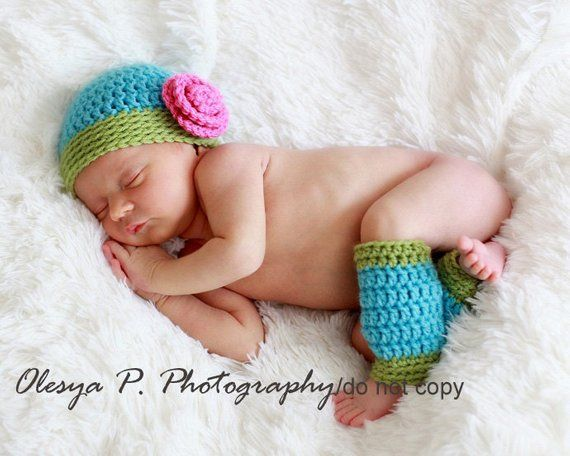 30d748864 Download PDF crochet pattern - Beanie with rose and leg warmers ...