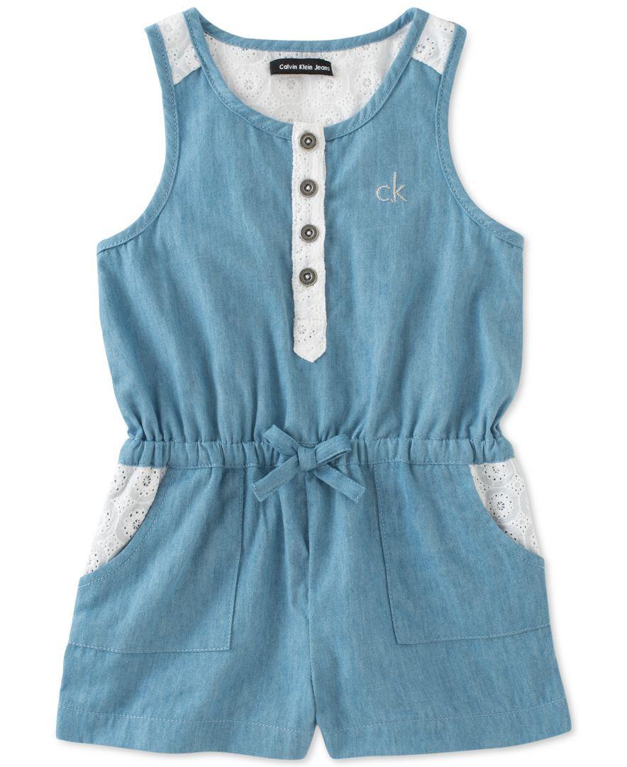 cb62f953f94f Calvin Klein Baby Girls  Denim   Eyelet Romper