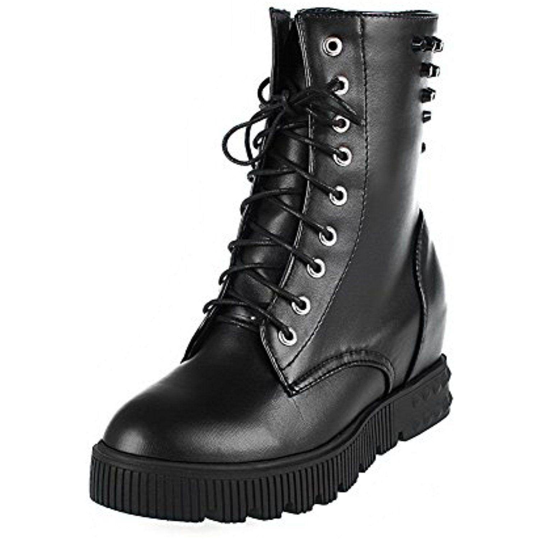 Women's Zipper Round Closed Toe Kitten Heels PU Solid Boots