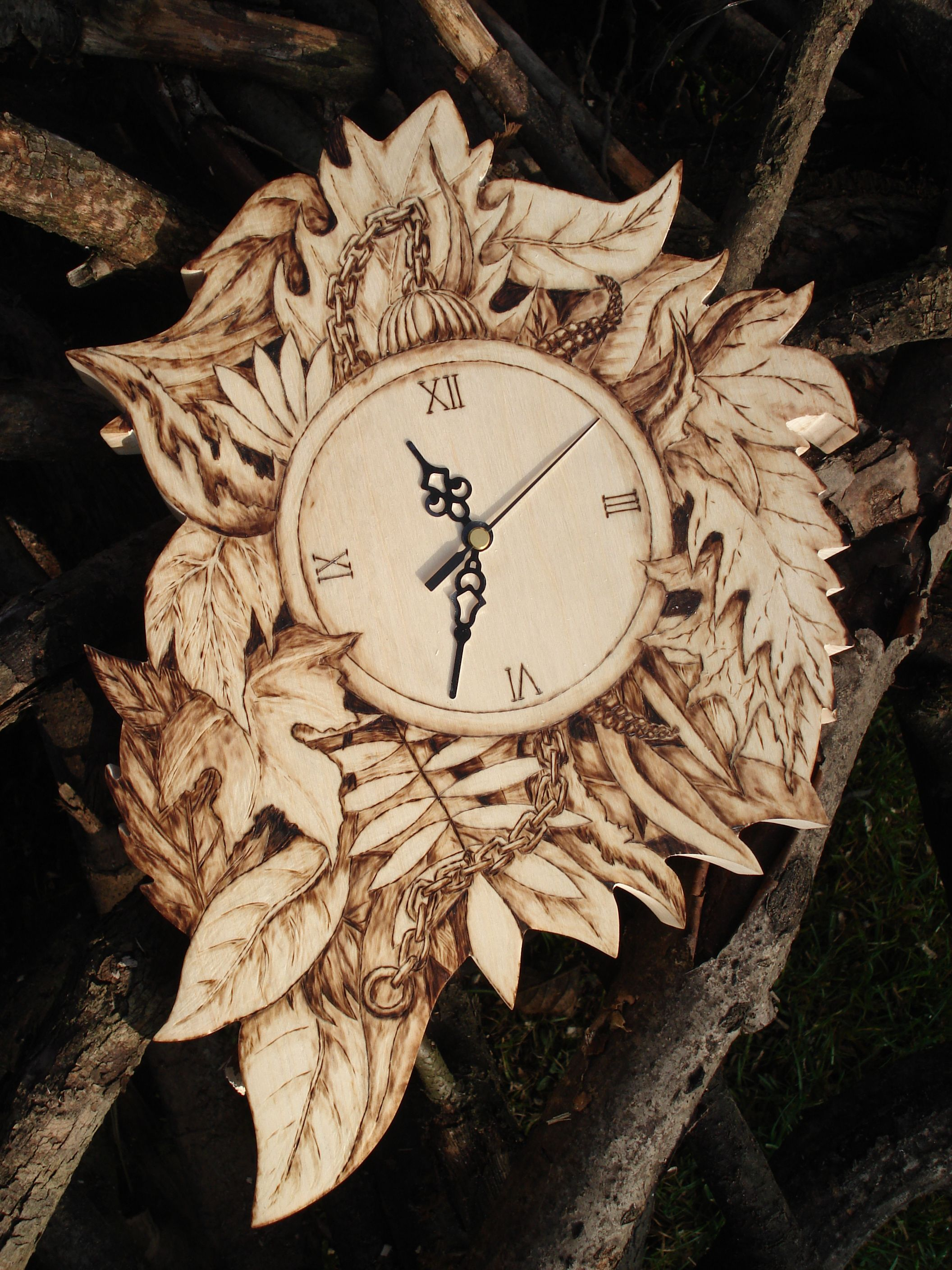 Pyrography Wood Wall Clock Wood burning Forest