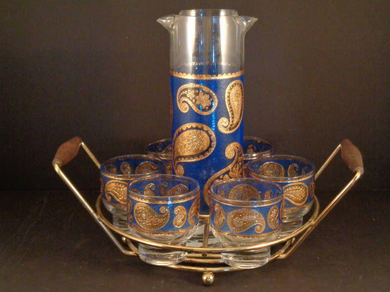 Barware Collection   RARE   CULVER   BLUE PAISLEY