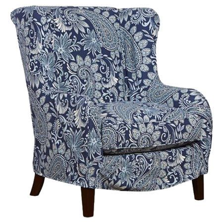 Meltzer Wingback Chair And Ottoman Armchair Blue Accent