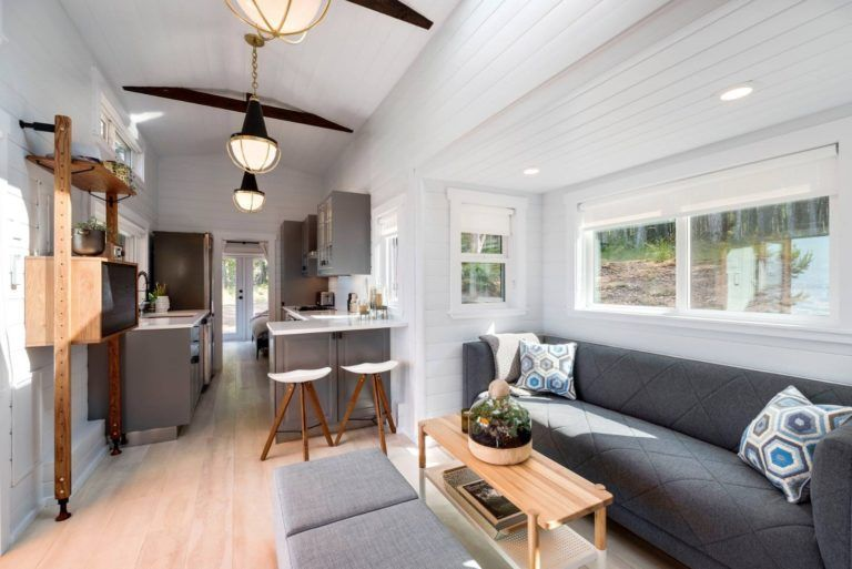 36ft Tiny Home With Dual Slide Outs Downstairs Bedroom Closet Space Full Size Living Room And More Tiny House Living Room Tiny House Living Tiny House Company
