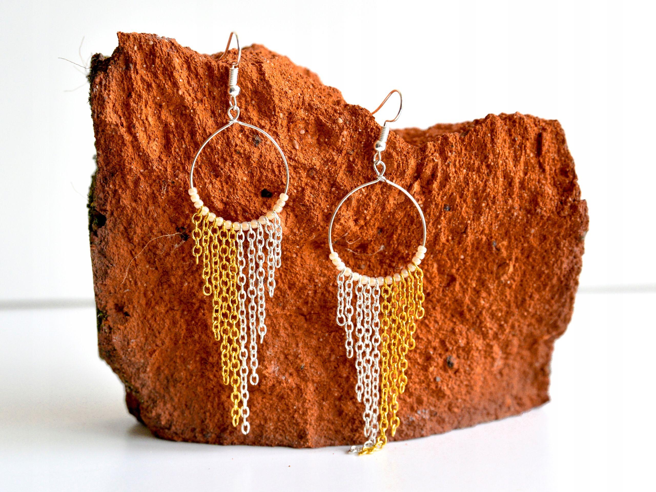 Kolczyki Wiszace Kola Zlote Lancuszki Boho Etno 7456286121 Oficjalne Archiwum Allegro Crochet Earrings Earrings Straw Bag