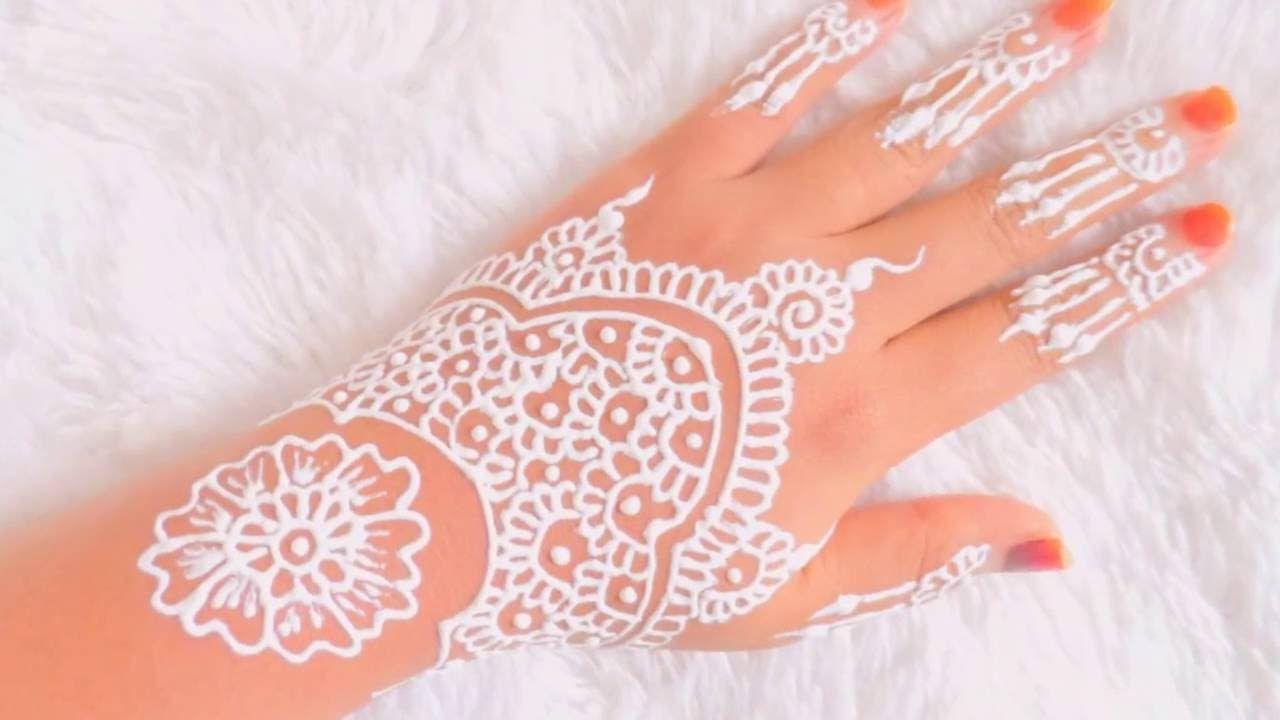 Simple White Henna Belajar Henna Untuk Pemula 4 Henna Designs Hand White Henna Designs Hand Henna