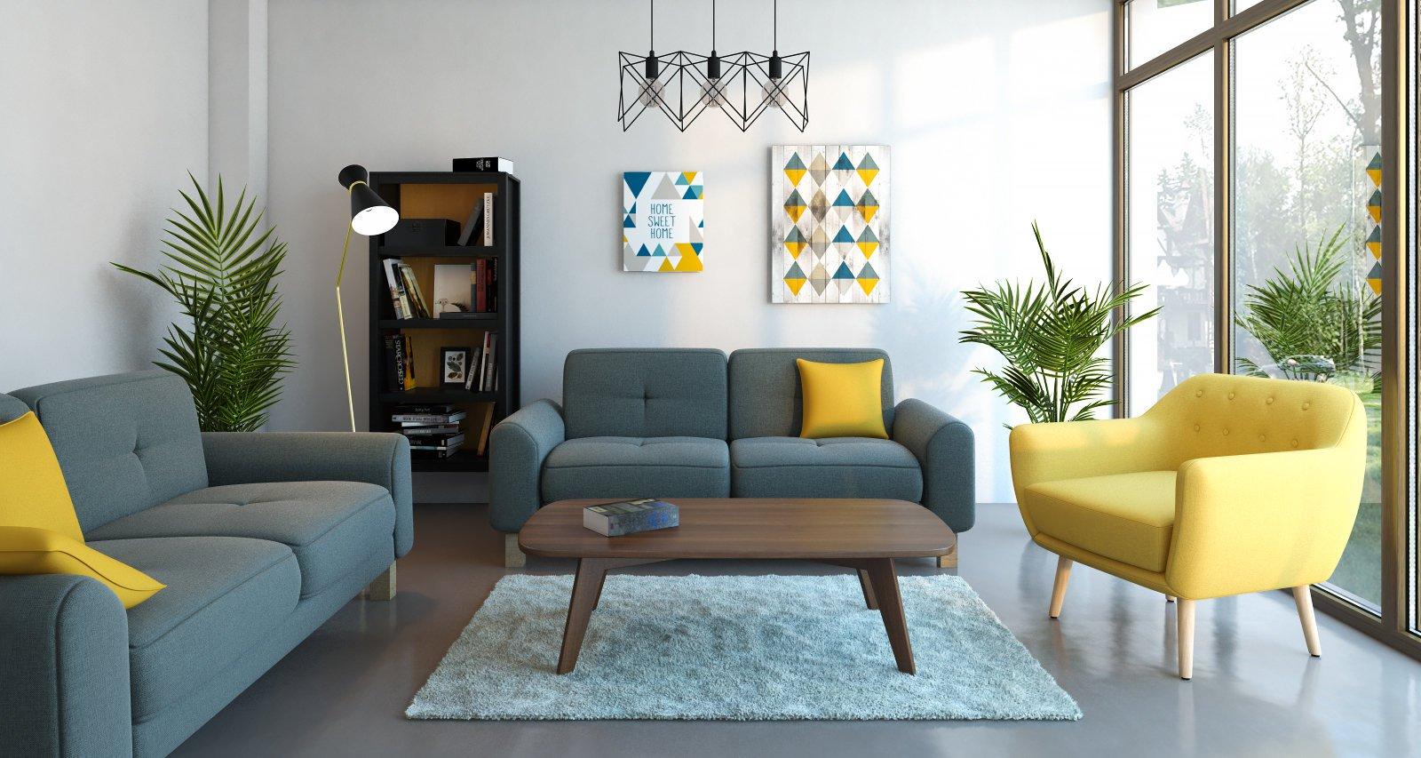 Salon scandinave jaune gris - Idées déco maison  Idee deco salon