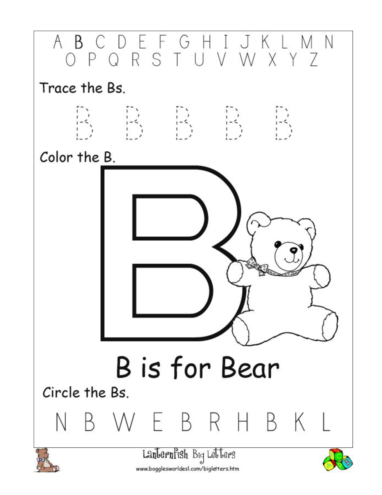 Large Letter Tracing Worksheets