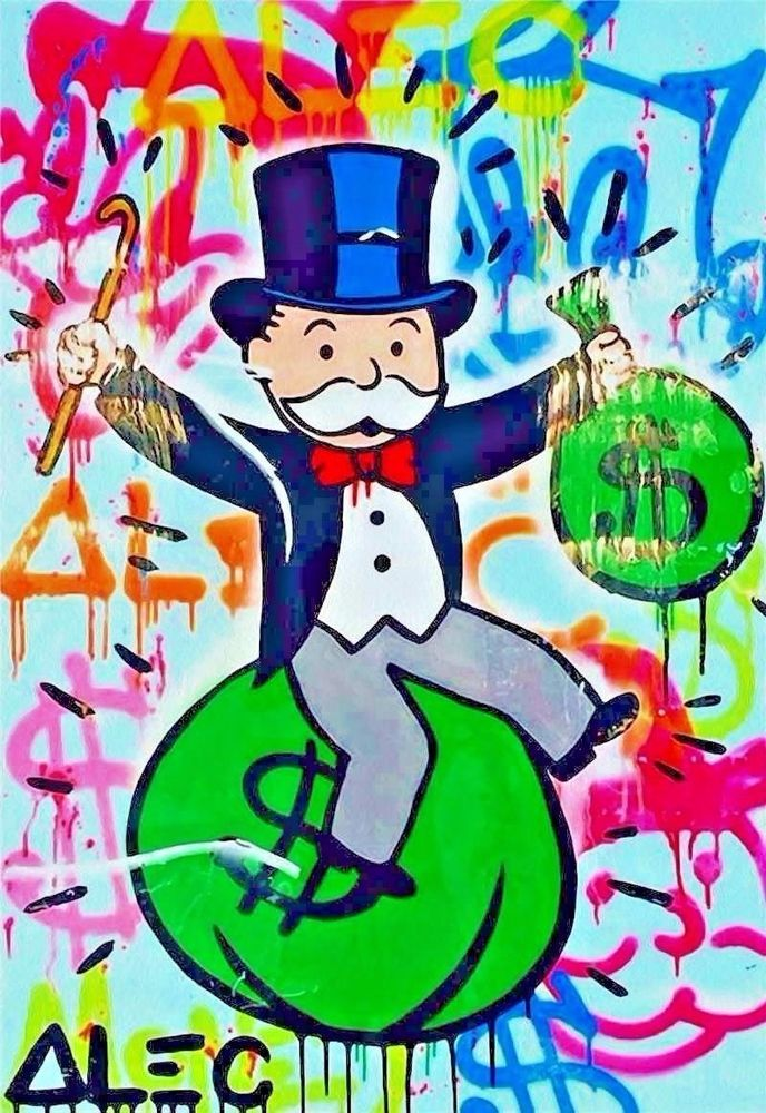 Alec Monopoly Riding Money Oil Painting Hd Print On Canvas Decor