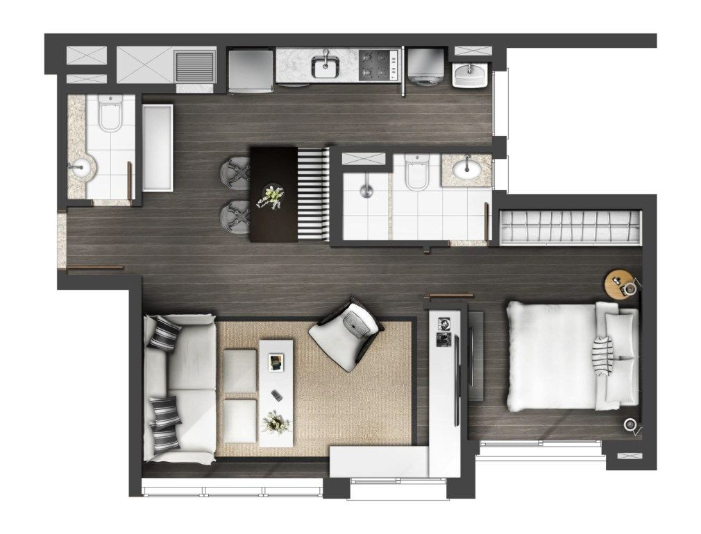 Pin de sara war en home en 2019 apartamentos est dio for Planos de casas pequenas de dos plantas