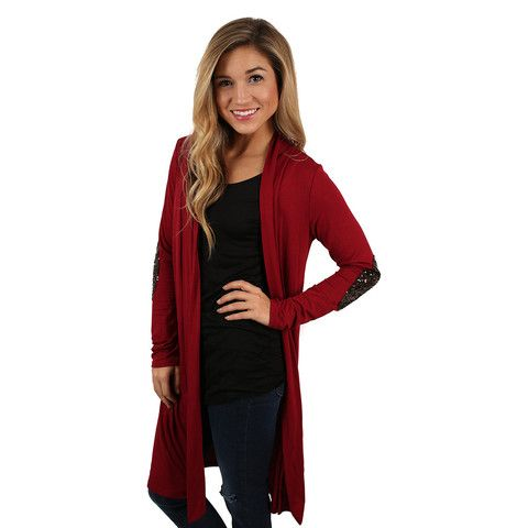 Weekend Sparkles Cardi Burgundy   Impressions Online Women's Clothing Boutique. Sp pretty! Christmas time!