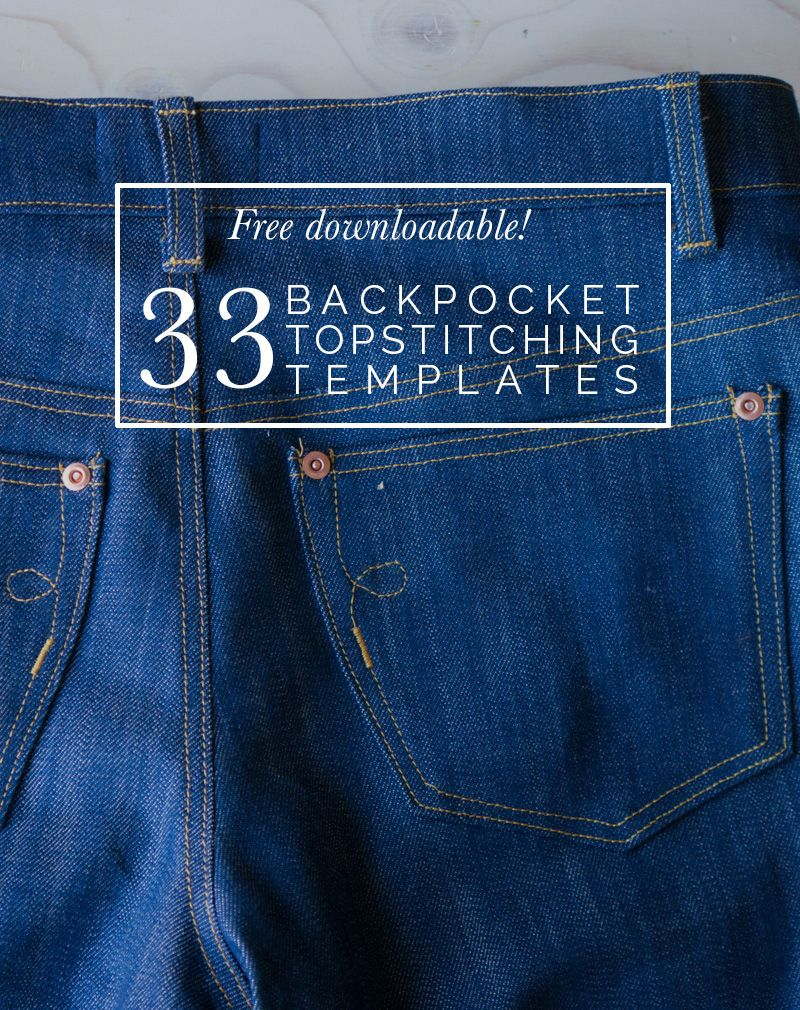 Free Downloadable! 33 Back Pocket Designs | Jeans nähen, Jeans und ...
