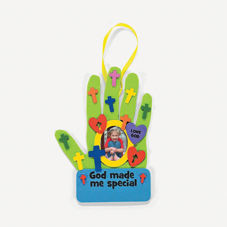 Oriental trading christian crafts -  God Made Me Special Handprint Photo Frame Craft Kit Orientaltrading Com