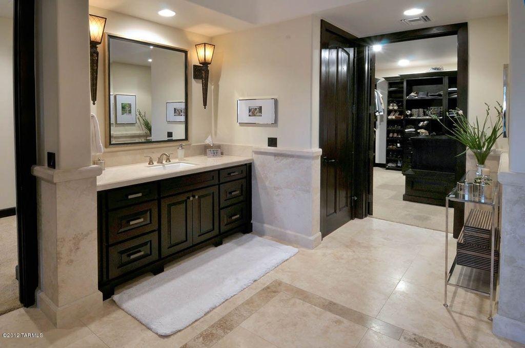 Contemporary Master Bathroom with Daltile Cannes Crema ...