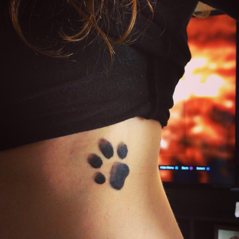 Dog Paw Print Tattoo Writing: Tattoo - Paw Print On Rib Cage. #ripNiko