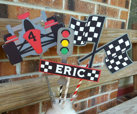 This is part of the race car theme decor I have in my shop! You get four pieces..the car, the stoplight, race car flags and name. They are on 12 skewers covered with colored paper straws ( will vary ). Each piece is about 5-6.
