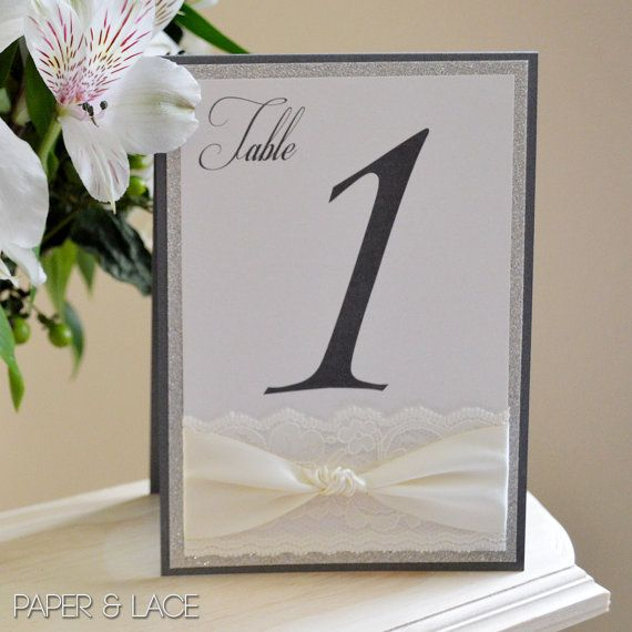 Glitter and Lace Table Numbers - Wedding Table Number - Charcoal Gray Tented Table Card - Vintage - Romantic (KNOT TABLE NUMBER)