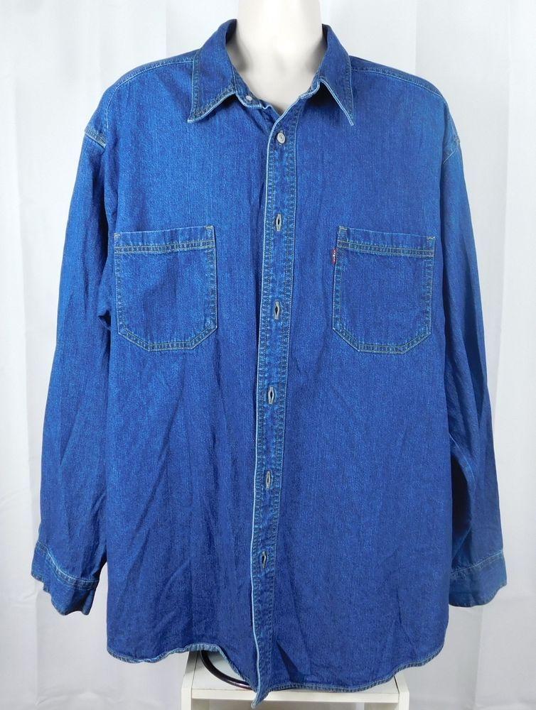2bcf175dc67 Levis Button Front Red Tab Denim Shirt 2 Pockets LS Metal Buttons XL Blue   Levis  ButtonFront