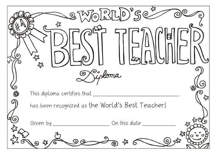 Worlds Best Teacher Diploma Coloring Page Teacher Awards Teacher Appreciation Week Printables Teacher Appreciation Week