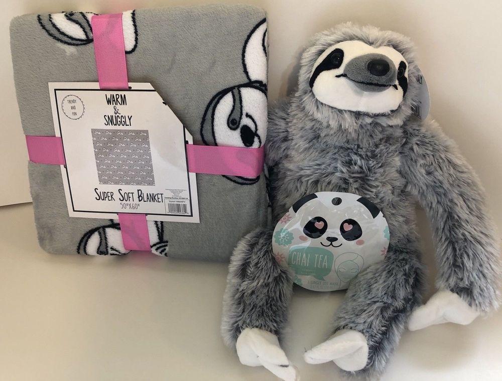 1097677e0b Warm   Snuggly Gray Sloth Blanket Throw   Plush Set NEW with Face Mask Gift  Set  SlothLife