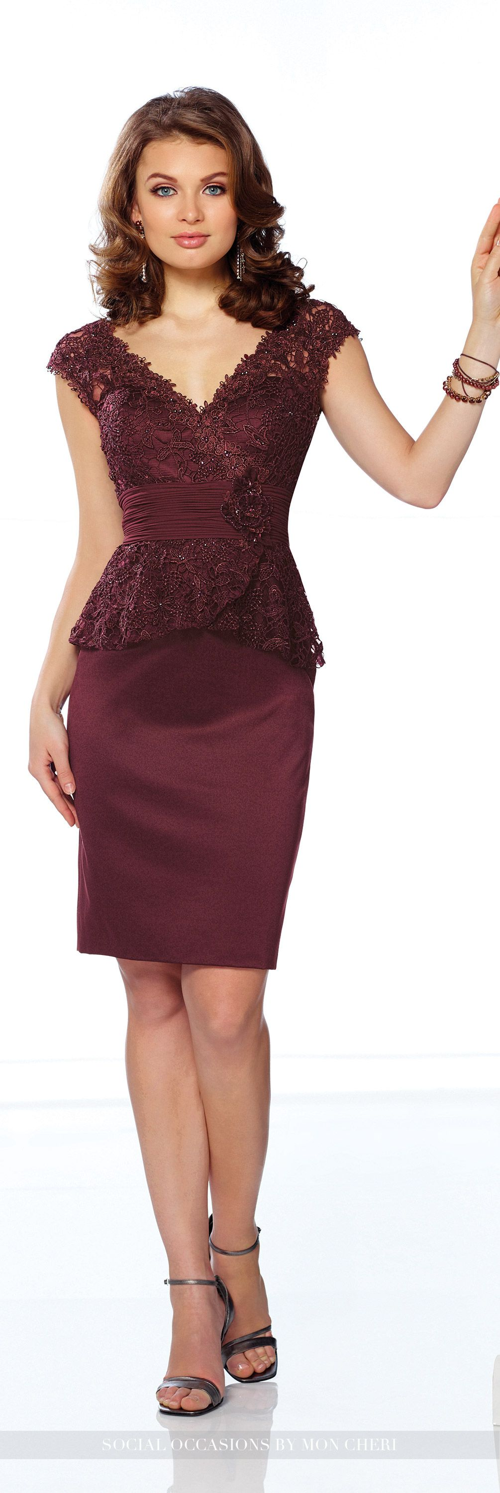 Wedding guest dresses satin skirt lace peplum and bodice