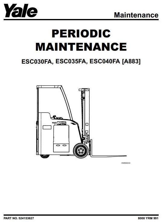 original illustrated factory workshop service manual for yale electric forklift truck type a883