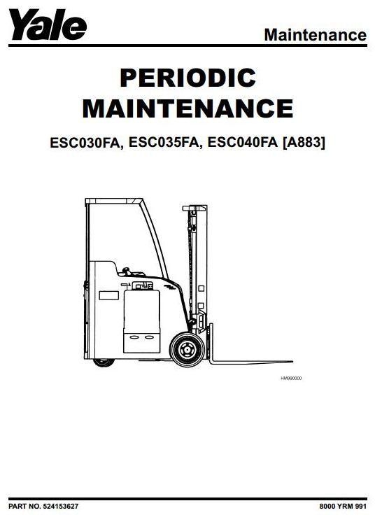 yale electric forklift truck type a883 esc030fa esc035fa esc040fa rh pinterest com