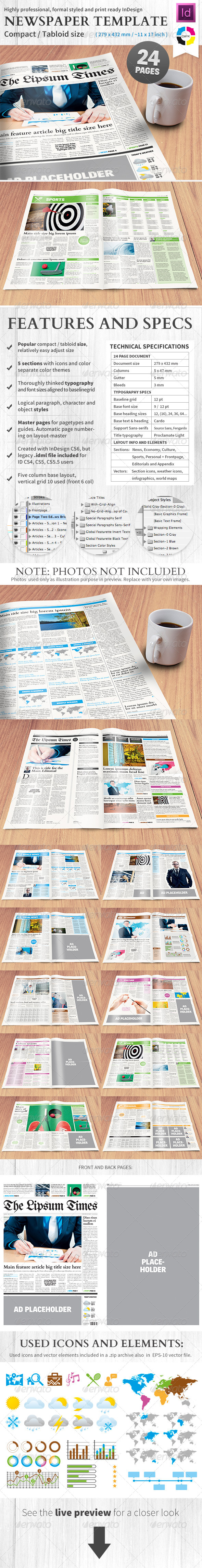 Newspaper Template Compact Tabloid Size - 24 Page #GraphicRiver ...