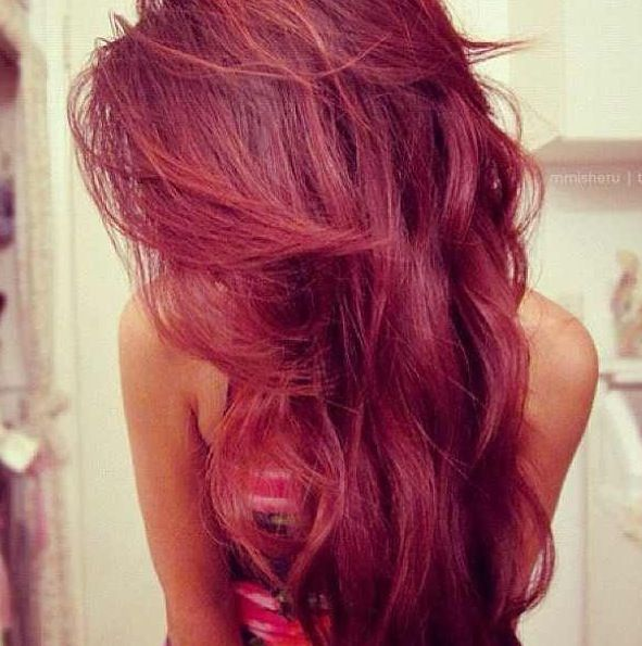 Maroon colored hair. Looks perfect against her skin   Hair ...