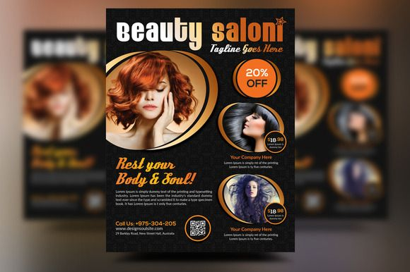 Beauty Salon Flyer by designsoul14 on Creative Market Flyer - hair salon flyer template