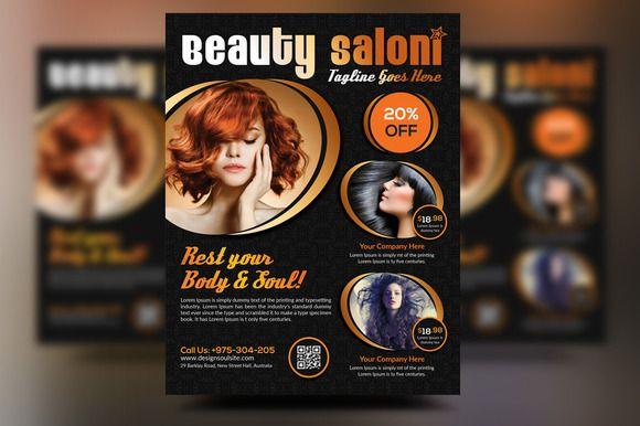 Beauty Salon Flyer by designsoul14 on Creative Market Flyer - hair salon flyer template
