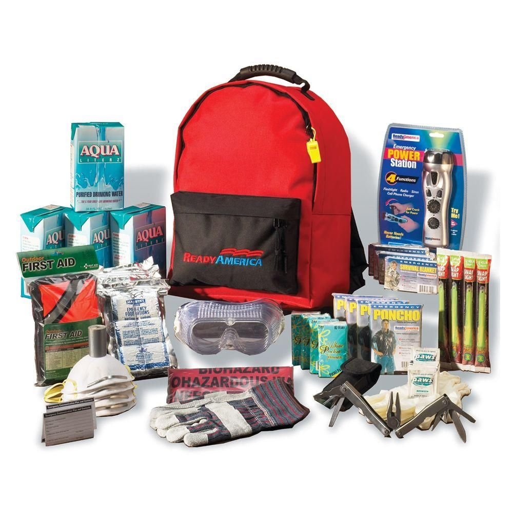 Ready America 4-Person 3-Day Deluxe Emergency Kit with Backpack-70385 - The Home Depot