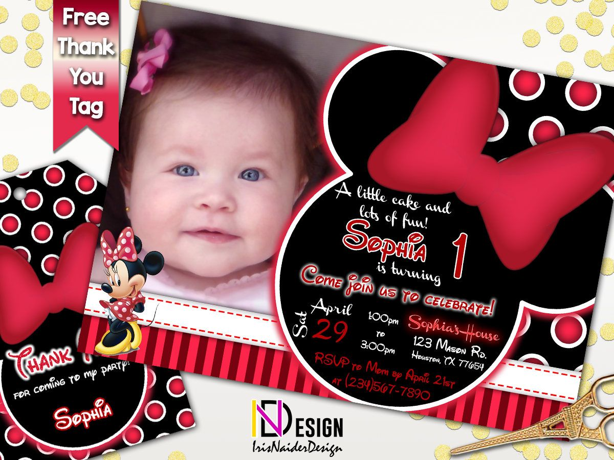 Minnie Mouse Invitation, Minnie Birthday Invitation, Minnie red ...