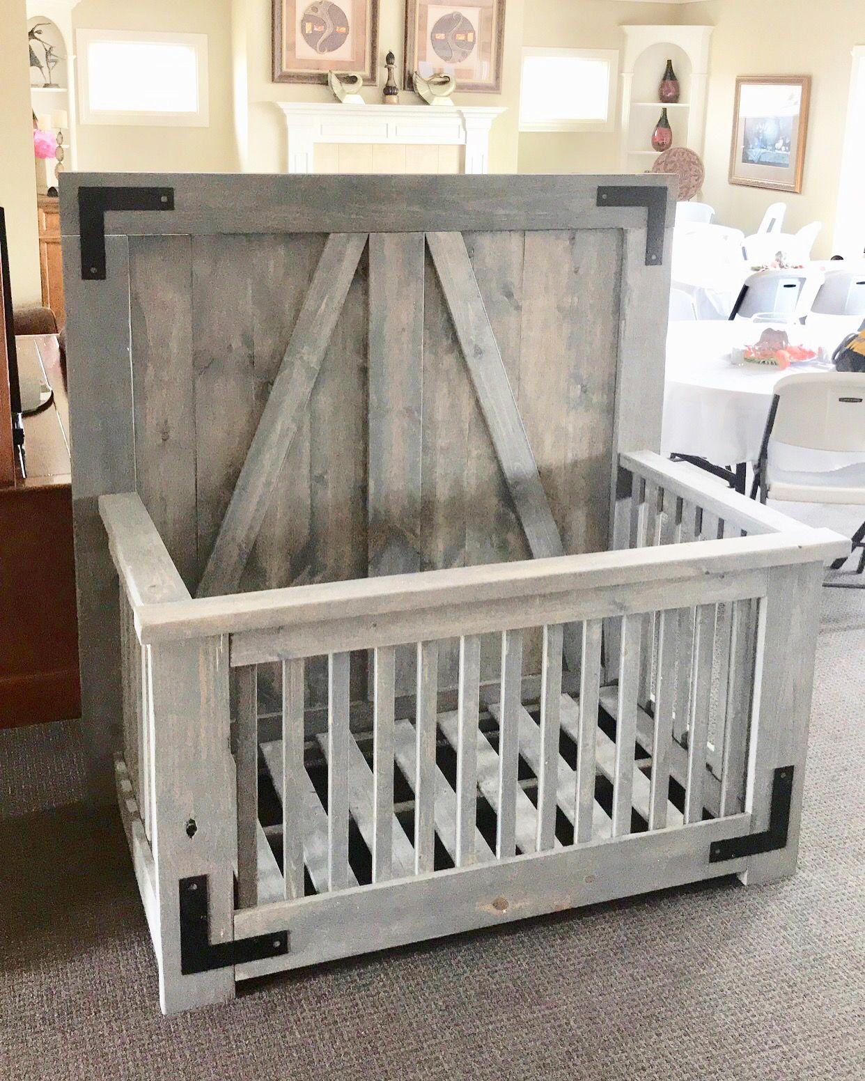 Farmhouse style Baby Crib! Nice gray finish with black ...