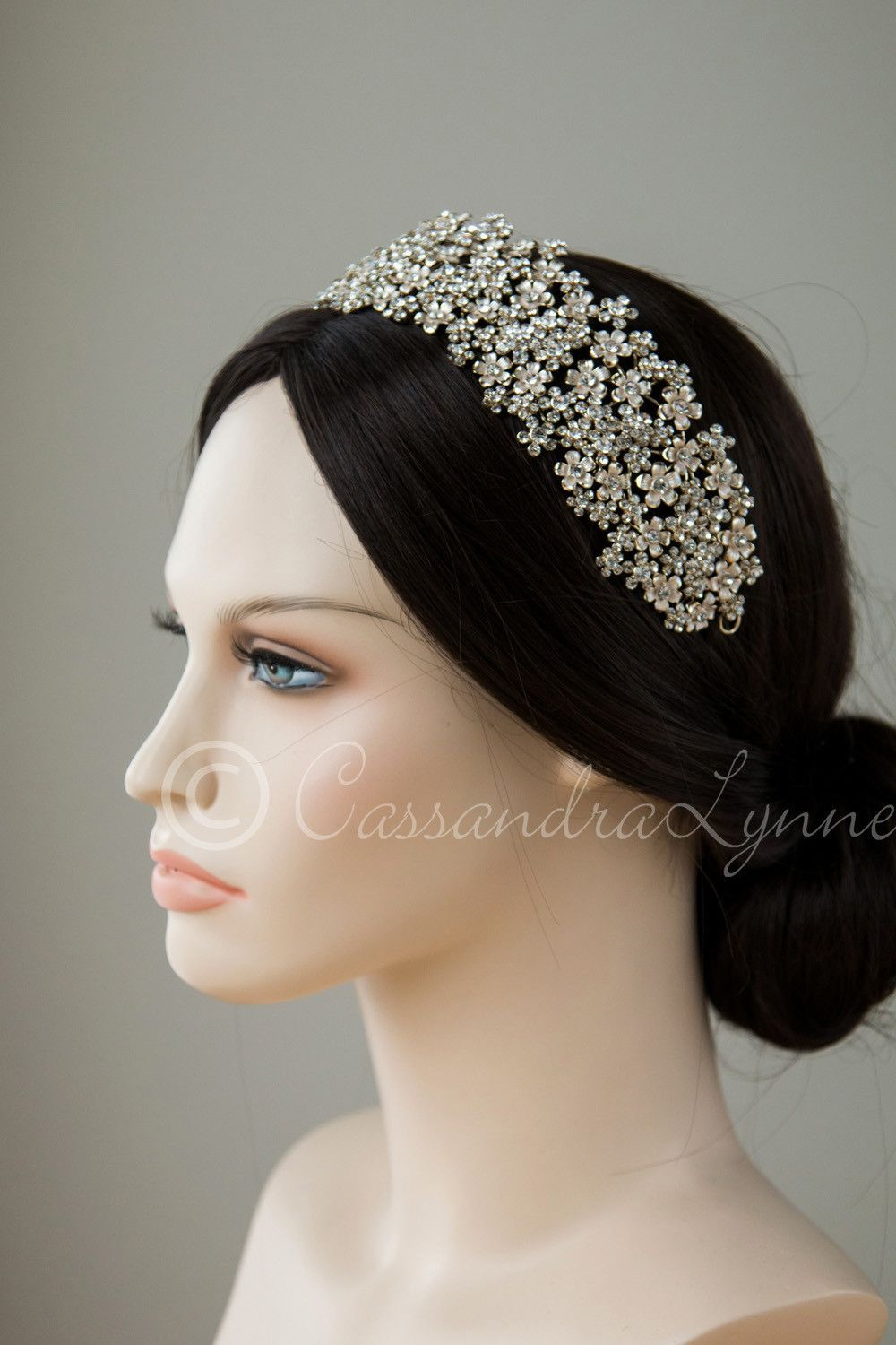 Wide Wedding Headpiece Of Frosted Flowers In 2020 Gold Hair Accessories Wedding Wedding Headpiece Wedding Hair Accessories